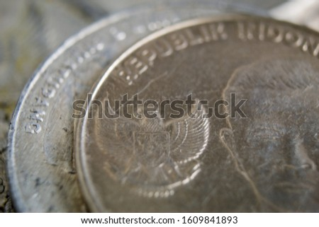 Close up of pile Indonesian currency coins