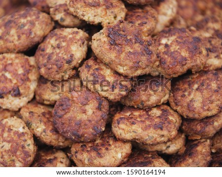 Close up of pile of meatballs