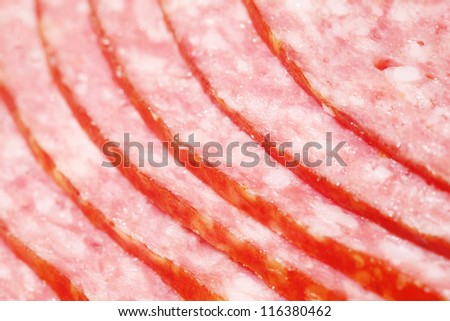 Close up of pink appetizing salami sausage pieces with white fat.