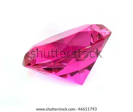 close up of pink diamond over  white background