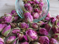 Close up of pink dried rose buds Herbal Tea in glass bottle on wooden background. Reduced symptoms of depression, calmed nerves,increased circulation and improved digestion.  Antioxidant Properties