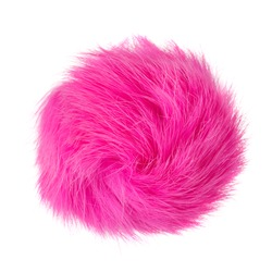 Close up of pink rabbit fur pompom isolated on white background