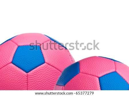 Close Up of Pink Soccer Balls Border Image with White Copy Space.