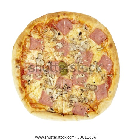close up of pizza on white background with clipping path