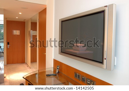 Close up of Plasma TV in hotel room