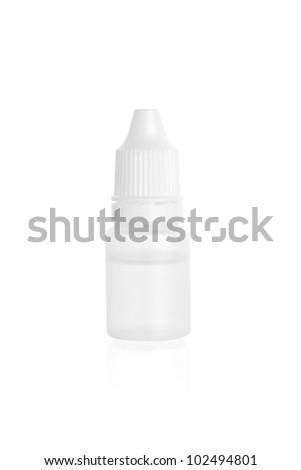 close up of plastic bottle isolated on white background