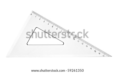 close up of plastic transparent ruler on white background with clipping path