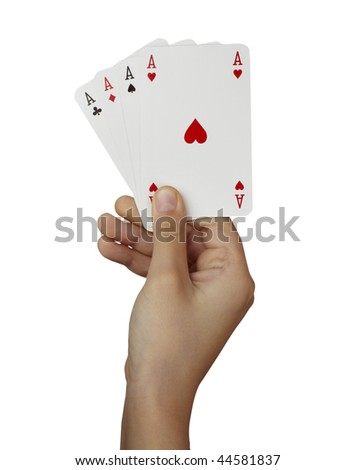 close up of  playing cards poker game on white background with clipping path