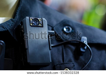 Close-up of police body camera