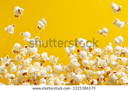 Close-Up Of Popcorn Against Yellow Background Foto stock ©