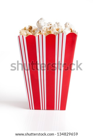Close-up Of Popcorn Bucket Isolated Over White Background