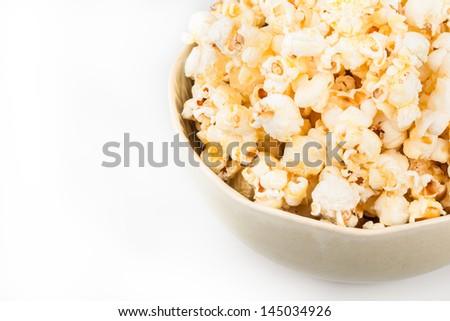 Close up of popcorns in ceramic bowl