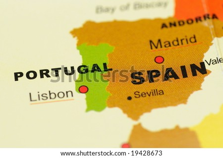 maps of portugal. Portugal and Spain on Map