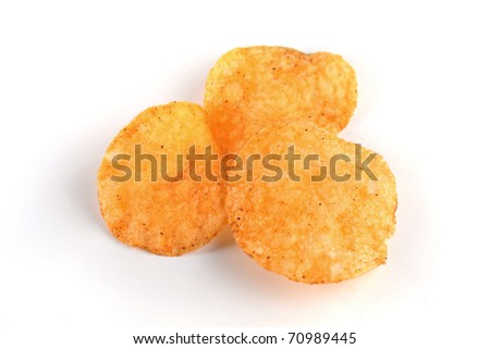 Close up of potato chips isolated on white background.