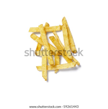 close up of potato chips on white background with clipping path
