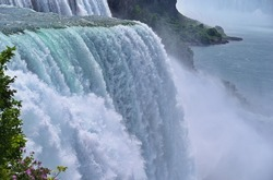 Close up of powerful water falls