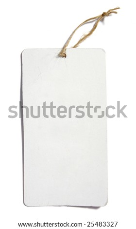 close up of price label on white background with clipping path