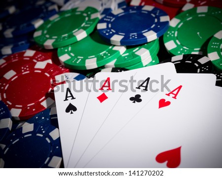 Close-up of professional poker table