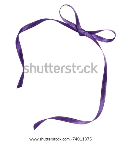 close up of purple ribbon on white background  with clipping path