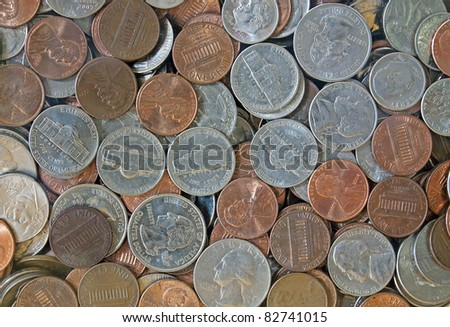 Close-up of quarters, dimes, nickels and pennies