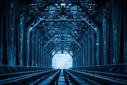 Close-up of Railway Bridge Steel Frame,Chongqing Yangtze River Metal Railway Bridge, China