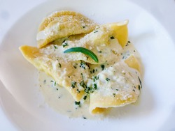 close up of ravioli traditional Italian dish served with white sauce topping with parmesan cheese and basil leaves.