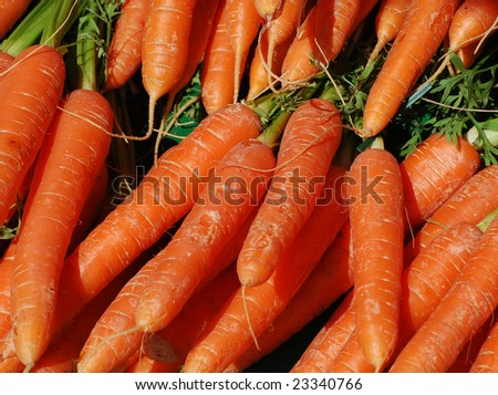 Close-up of raw carrots on market stall
