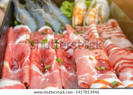 Close up of raw food raw materials, raw materials, pork and shrimp #1417813946