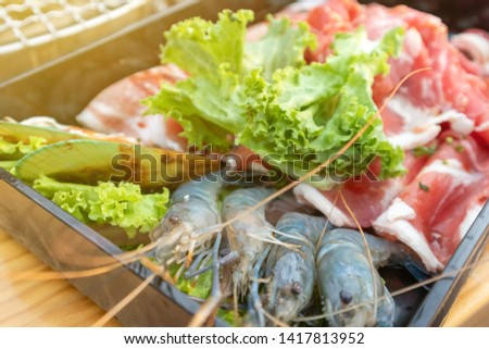 Close up of raw food raw materials, raw materials, pork and shrimp #1417813952