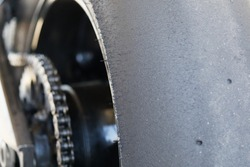 Close up of rear slick motorcycle tire, perfect tyre pressure wear