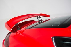 Close up of rear spoiler on sports car