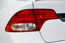 Close up of rear taillight on a vehicle.