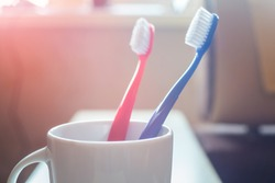 Close-up of Red and Blue Plastic Toothbrushes in White Mug on Blurred Background Concept Dental