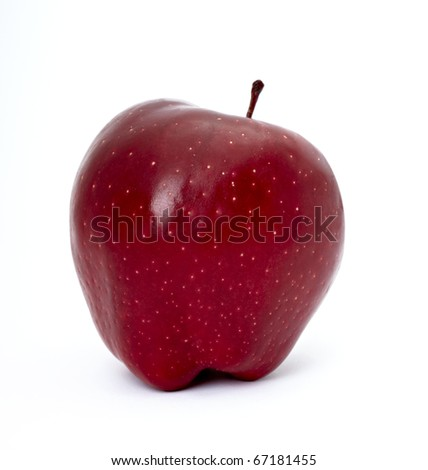 close up of red apple on white background with clipping path - stock photo