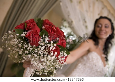close up of red bouquet