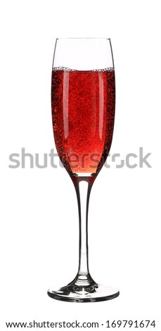 Close up of red champagne glass. Isolated on a white background.