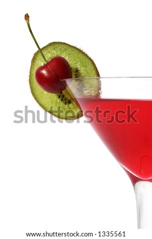 Close up of red cocktail with cherry and kiwi slice garnish; over white