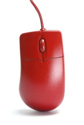 Close Up of Red Computer Mouse