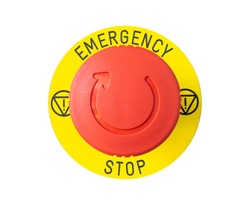 close-up of red emergency button isolated on white background