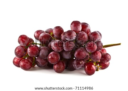 Close up of red grapes on white background with copy space.