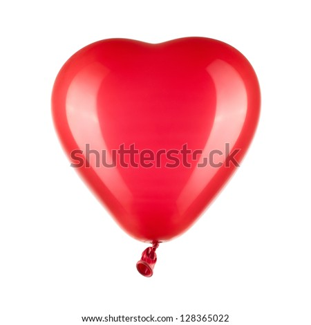 Close up of red heart shaped balloon isolated on white background with clipping path