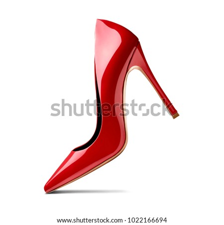 close up of red high heels on white background #1022166694