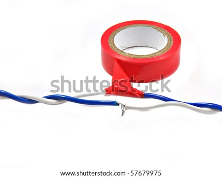 close up of red insulating tape and wire