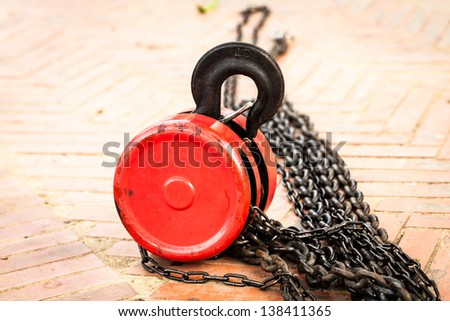 Close up of red pulley