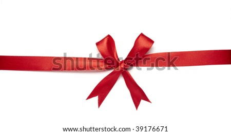 close up of  red ribbon on white background on white background with clipping path
