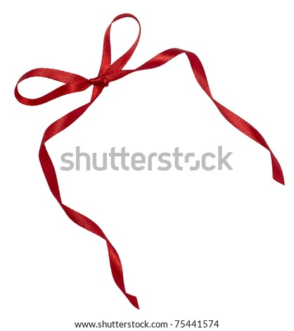 close up of   red ribbon on white background  with clipping path