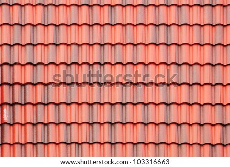 close up of red roof texture