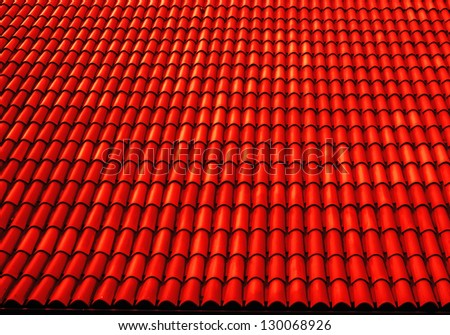 close up of red roof texture tile