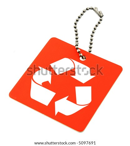close-up of red tag with recyclable symbol isolated on white background