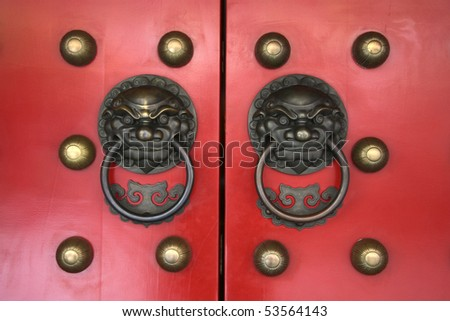 close-up of red temple door in chinatown, singapore city state - stock photo